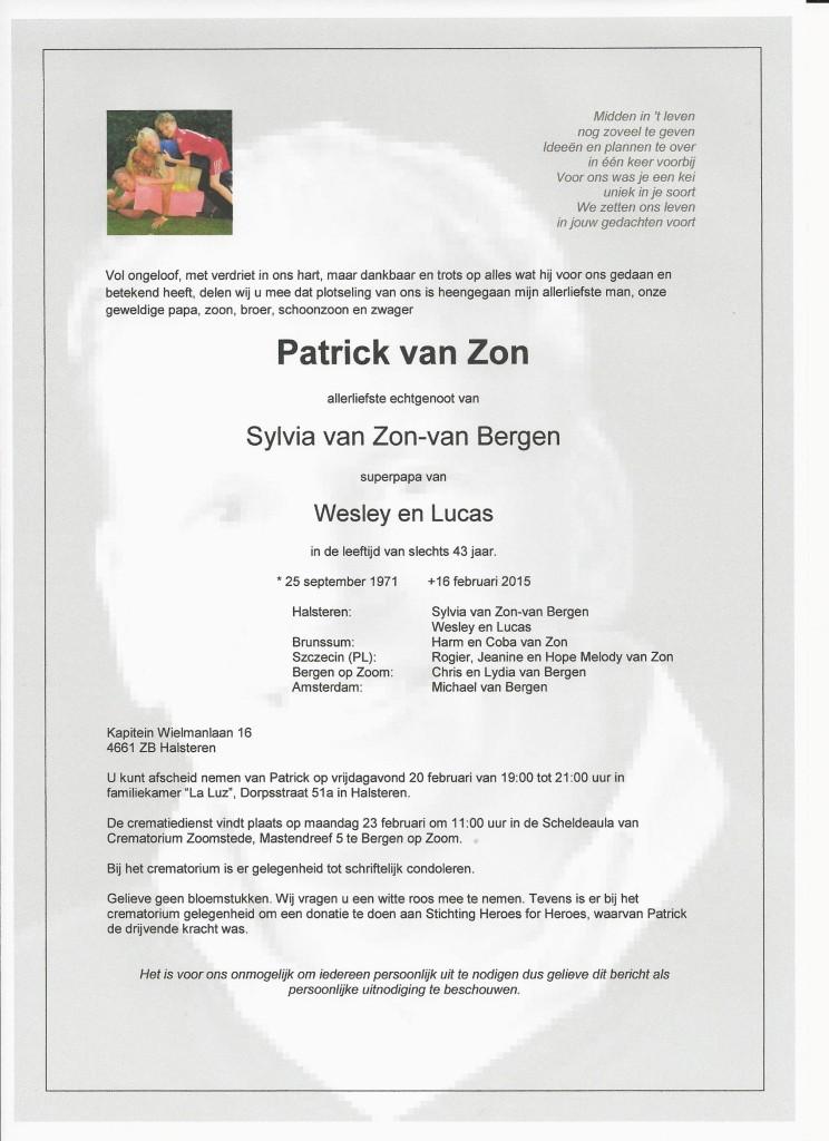 Rouwkaart Patrick van Zon