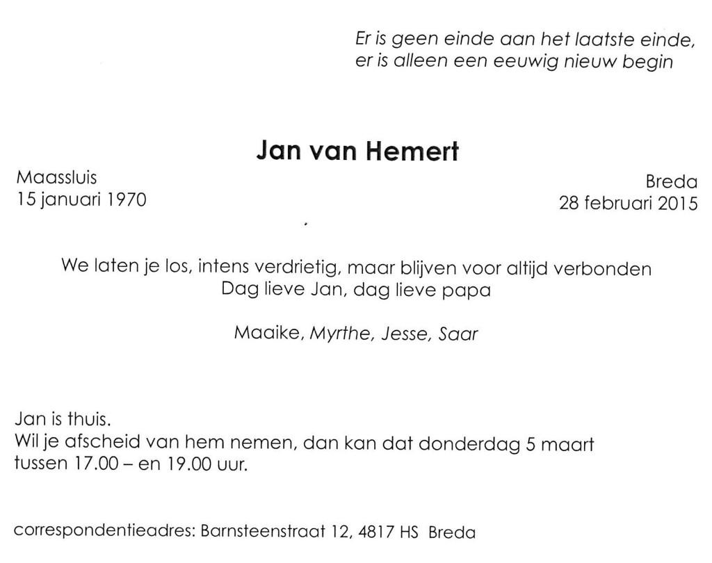 Topsport for Life - Rouwkaart Jan van Hemert - 02