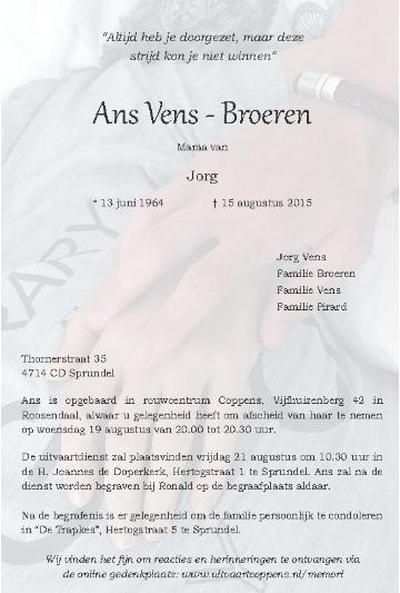 Topsport for Life - Rouwkaart Ans Vens-Broeren