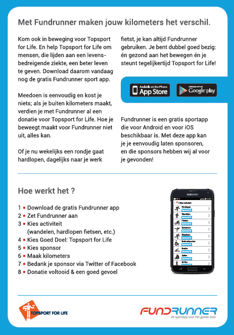 Topsport for Life - Flyer Fundrunner achterkant