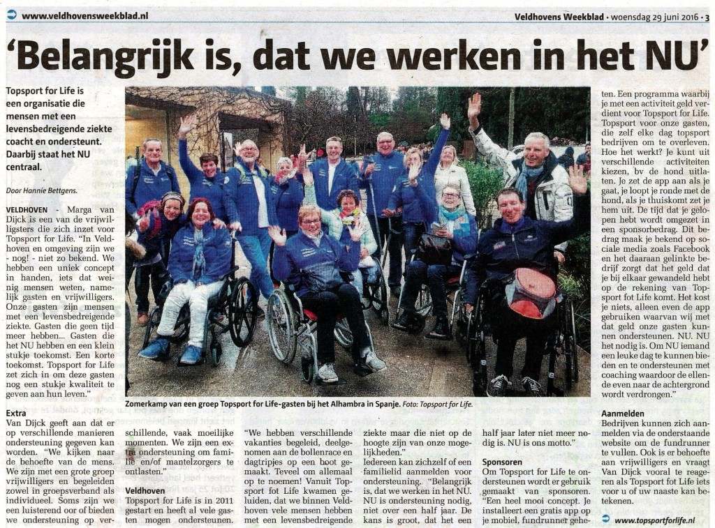 20160629 - Artikel Veldhovens Weekblad over Topsport for Life
