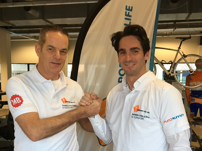 Voorzitter van Topsport for Life, Miel in 't Zand (links) met Robert van der Horst