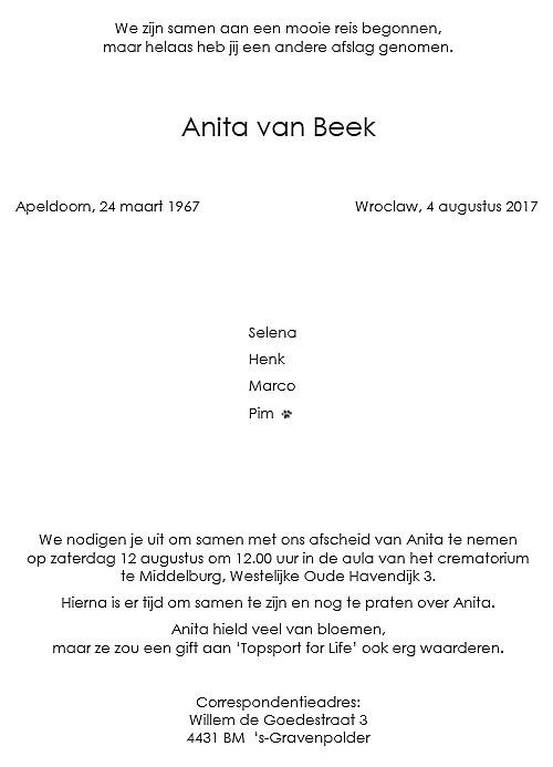 Topsport for Life - Rouwkaart Anita van Beek - achterkant