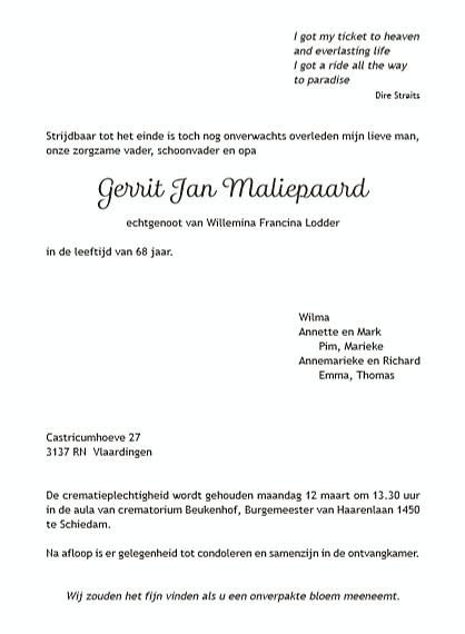 Rouwkaart GJ Maliepaard - binnenkant