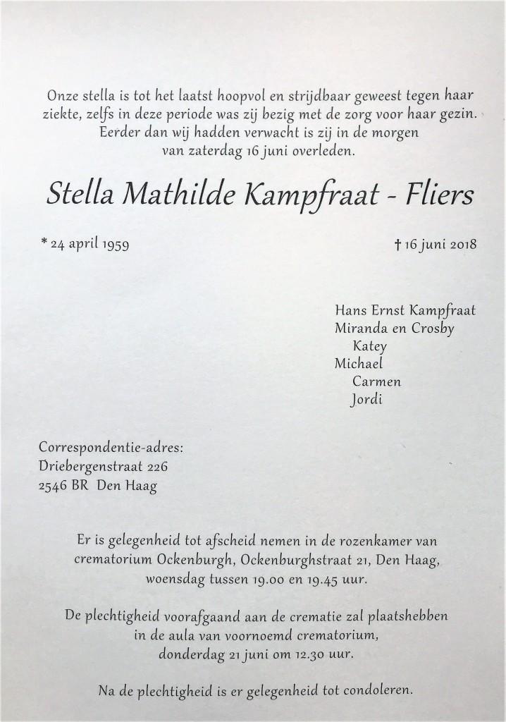 Topsport for Life - Rouwkaart Stella Kampfraat - binnenzijde