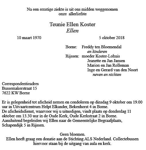Rouwkaart Ellen Koster - binnenkant rechts