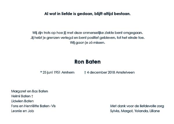 Rouwkaart Ron Baten - 1 van 2