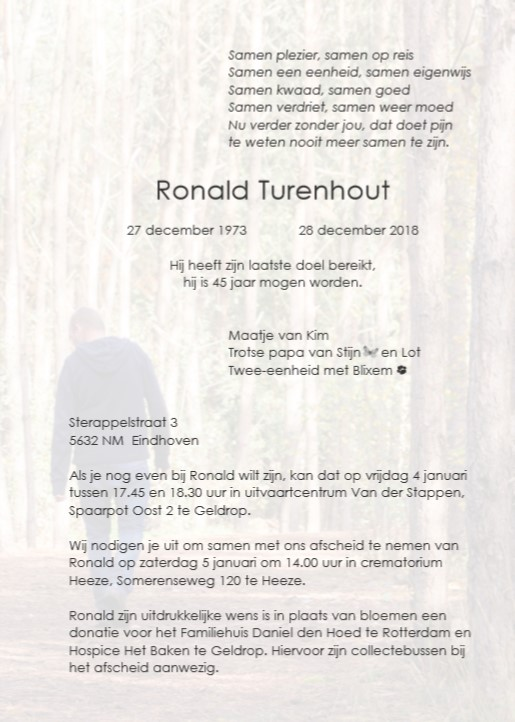 Topsport for Life - Rouwkaart Ronald Turenhout