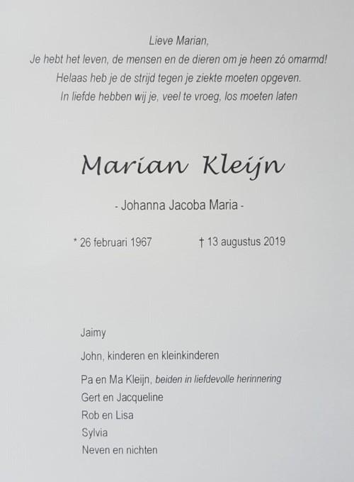 Topsport for Life - Rouwkaart Marian Kleijn - p.3