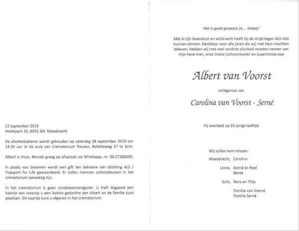 Rouwkaart Albert van Voorst - binnenkant