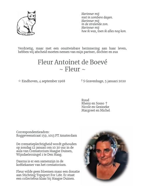 Topsport for Life - Rouwkaart Fleur de Boevé