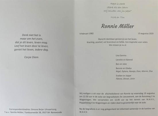 Rouwkaart Ronnie Möller - binnenkant